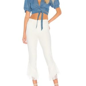 NWT Paige Hoxton Straight Ankle Laced Ruffle Jeans